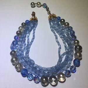 Vintage DeMario Blue Crystal Beaded Necklace